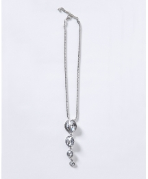 Mint Silver Diamante Droplet Necklace