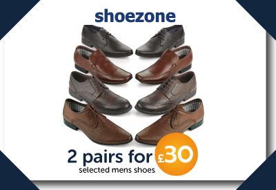 2 pairs for £30 on selected men's shoes